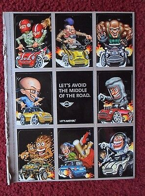 2003 Print Ad Mini Cooper Automobile Car ~ Weird Wheels Style Art Sticker Cards