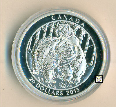 2015 'Grizzly Bear-Togetherness' Proof $20 Silver Coin 1oz .9999 Fine(17438)OOAK