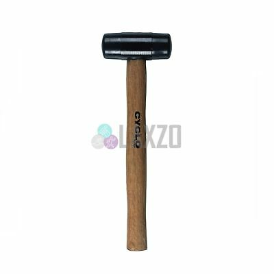 Rubber Mallet / Hammer Cyclo With Ergonomic Wooden Shaft Handle Black