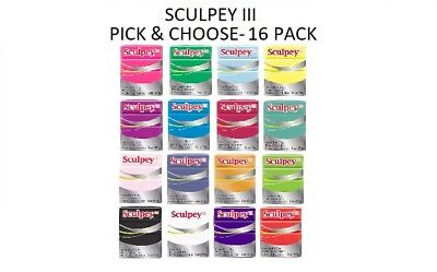 Sculpey III Polymer Clay 2oz bars- Pick & Choose 16 pack