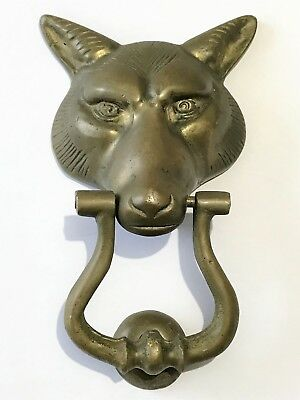 Vintage Antique Solid Brass Fox Head Door Knocker~Knock Plate & Screws Included