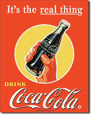 It's the Real Thing Drink Coca-Cola Coke Vintage Soda Pop Metal Sign