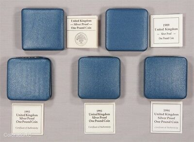 Lot of 5 UK Sterling Silver £1 Proof One Pound Coins, 1987-1994 w/Boxes & COAs