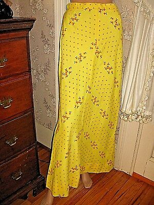 VINTAGE 1970s YELLOW LINEN EMBROIDERED ORANGE FLORAL/DOTTED A-LINE MAXI SKIRT-12