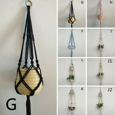 Pot Holder Macrame Plant Hanger Hanging Planter Basket Jute Rope Braided Hooks