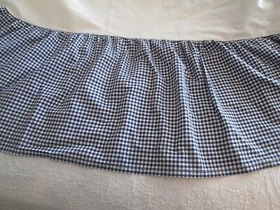 Pottery Barn Kids Navy and White Gingham Checked Gathered Cribskirt