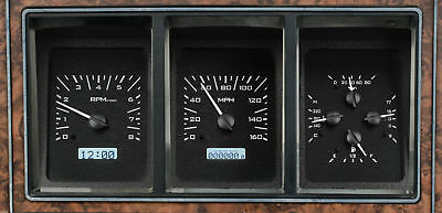 1973-79 Ford Pickup VHX System, Black Alloy Style Face, White Display