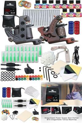 Complete Tattoo Kit 2 Machine Gun 10 Color Inks Needles Power Supply Foot Pedal