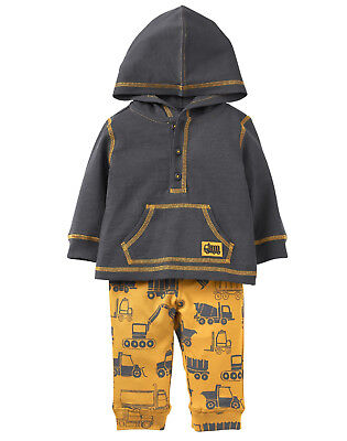 NWT Gymboree Tutus & Teddy Bears Trucks Hooded Top Pants Outfit Set 2PC Baby Boy