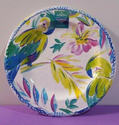 Artistic Accents Melamine Dinner Plates 11\  Tropical Parrot Hibiscus Dinnerware & ARTISTIC Accents Parrots Tropical Birds Melamine 10.75\