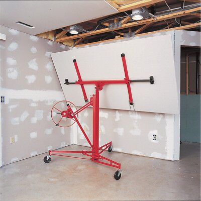 Drywall 11FT Lift Rolling Plaster Board Panel Sheet Hoist Jack Lifter Tools Red