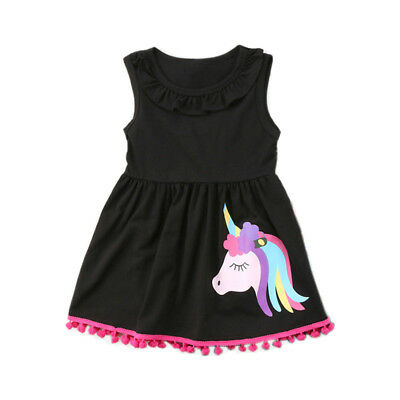 Unicorn Dress Summer Sleeveless Kids Girls Casual Party Dresses Vest Skirt