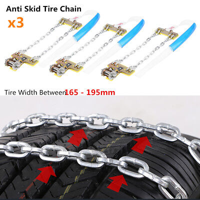 3Pcs 165-195mm Anti-skid Chains Snow Mud Car SUV Wheel Tyre Tire Cable Ties S DY