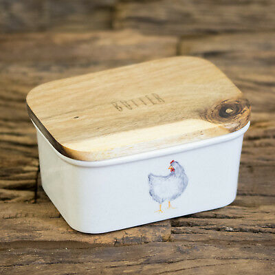 Farmyard Chicken Butter Dish with Wooden Lid Ceramic Dining Table Serving Bowl