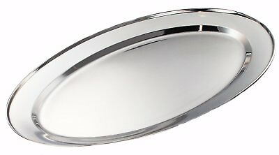 S/Steel Oval Serving Platter Tray Dish Meat Poultry Carving Roasting Buffet
