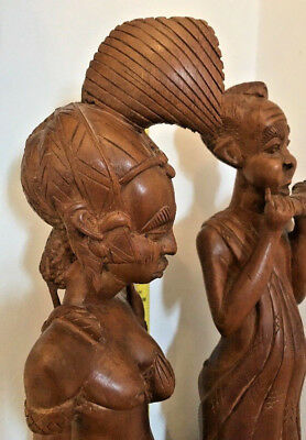 Collectable Very Rare Wooden Large African Hand Carved Nigeria Statues & Child