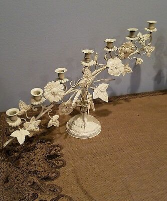 Pair of Huge Antique French Bronze Harvest Candelabras Shabby Chic  Alter style
