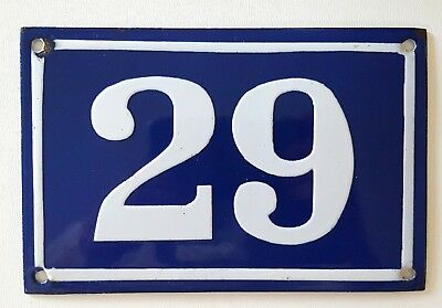 OLD FRENCH HOUSE NUMBER SIGN door gate PLATE PLAQUE Enamel steel metal 29 Blue