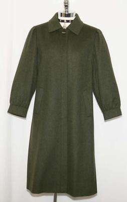 BOILED WOOL Long Over Coat Winter GREEN Women SHORT SLEEVES Austria Hunting 14 L