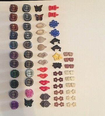 Lot Of 59 Vintage Girls Mini Hair Barrettes Hearts Bows Flowers Dolphin Ladybugs
