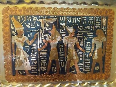 Large vintage Egyptian Revival engraved brass? serving tray hieroglyphics 1920s?