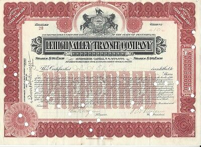 Lehigh Valley Transit Company......1913 Stock Certificate