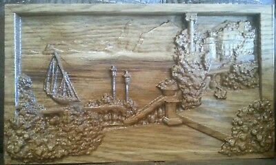 wood carving crafts picture art ocean