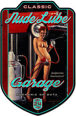 Nude Lube Plasma Cut Pin Up Metal Sign ( Greg Hildebrandt )