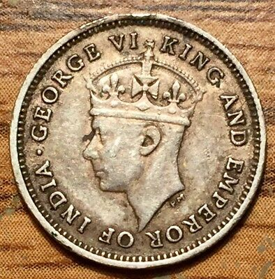 1942 Silver British Guiana 4 Pence King George VI Colonial Coin