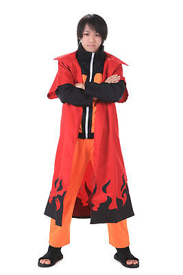 Naruto Shippuden Cosplay Costume Hidden Leaf Uzumaki Naruto V6 Cloak Only