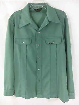 Vintage Lee Moss Green Polyester Leisure Suit Jacket Pearl Snaps Flap Pockets Lg