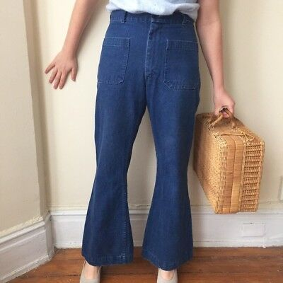 "Vintage Seafarer Unisex Navy Uniform Bell Bottom Flared Jeans Size 30""/31"""