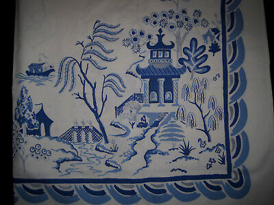 """Beautiful 1940s Simtex Blue Willow Tablecloth Large 52"""" x 48"""""""
