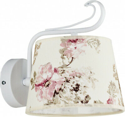 Wall Lamp Rustic Cream Fabric Shade Flowers Cottage Wall Lamp Hall