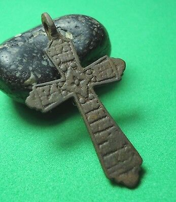 Ancient Bronze Cross Wearable Pendant Antique Rare C13