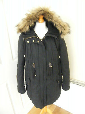 Beautiful H & M Mama Coat Warm Cosy Black Coat Padded Lined Hooded 10 12 Apx