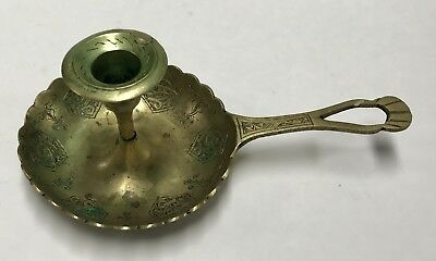 Antique Vintage Persian Islamic Brass Hand Engraved Candle Holder Engraved Rare