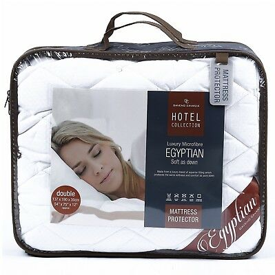 LUXURY EGYPTIAN HOTEL COLLECTION EXTRA DEEP QUILTED MATTRESS PROTECTOR 30cm DEEP