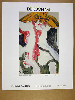 1989 Willem de Kooning 'Woman with Yellow Hair' painting vintage print Ad