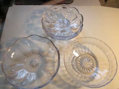 Lot of 4 RARE VTG/ ANTIQUE Heisey Glass Crystal Clear Dessert Dishes