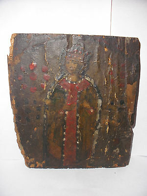 Antique 18thc 1700`s Spanish Colonial Folk Art icon retablo Painting