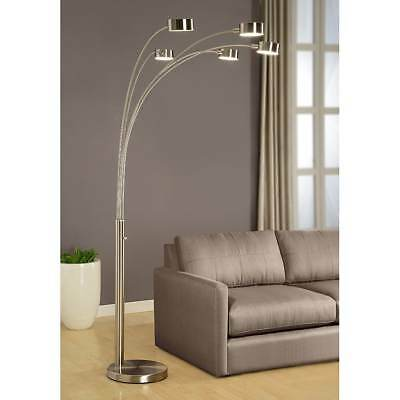 Floor Lamp 5 Light LED Arched 88 Inch Brushed Steel Modern Home Décor Lighting