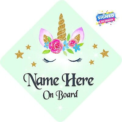 Personalised Unicorn Face Floral Child/Baby on Board Car Sign New ~ Soft Green 2