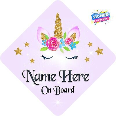Personalised Unicorn Face Floral Child/Baby on Board Car Sign New~Soft Violet 3
