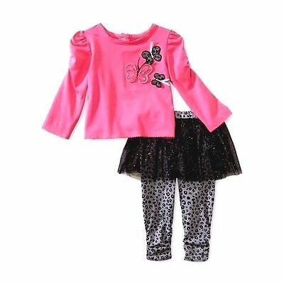 Baby Girls Tutu Leggings Outfit Set 18 Month Butterfly Pink Shirt Black NWT