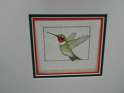 "ruby throated hummingbird matte print-signed & numbered- 9 1/4"" across"