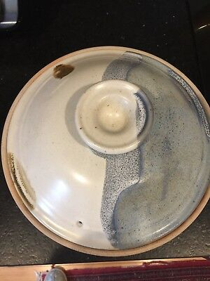 Vintage Stone Soldier Pottery Blue,White, Tan Abstract Glaze Large Yunnan Steame
