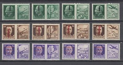 WWII 1942 Full Set Italy War Propaganda with Fascist Overprint  MNH Luxe.