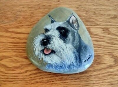 Ia Painting Of A Schnauzer On A Smooth Stone