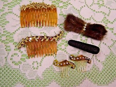 Lot of 6 Vintage Hair Combs Clips Nice